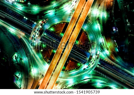 Aerial view of Modern transportation with Expressway, Road and Roundabout, multilevel junction highway-Top view. Important infrastructure. #1541905739