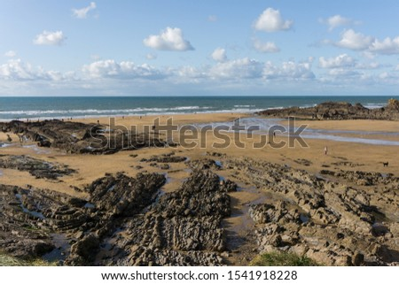 Autumn beach scene at Crooklets in Bude , Cornwall Royalty-Free Stock Photo #1541918228