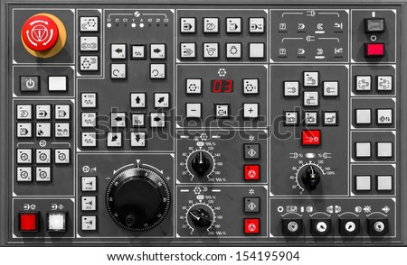Control panel texture with lots of buttons Royalty-Free Stock Photo #154195904