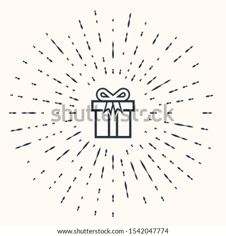 Grey Gift box icon isolated on beige background. Abstract circle random dots. Vector Illustration #1542047774