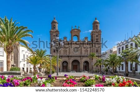 Landscape with Cathedral Santa Ana Vegueta in Las Palmas, Gran Canaria, Canary Islands, Spain #1542248570