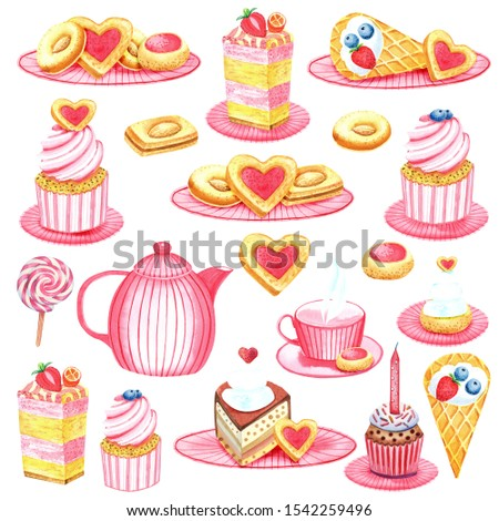 Clip art Teatime - tea pot, teacup, cakes, love heart, blueberry cup cakes, cookies, cream cakes. Isolated elements hand painted in watercolor.