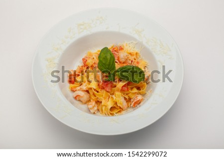 Salmon fish and noodles on plate. Food restaurant menu background #1542299072