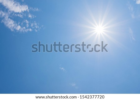 Beautiful Sunny Sky Background with White Clouds.