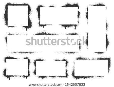 Spray paint graffiti stencil frames. Black airbrushing paint banner, stenciling backdrop and spray paint texture borders. Brush splash abstract rectangular stencil border. Isolated vector icons set #1542507833