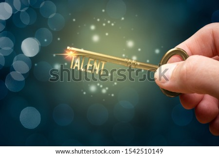 Key to unlock and open your talent and potential. Mentor, coach and another leading person has a key to open hidden talent. Talented human resources are very important for company success. Royalty-Free Stock Photo #1542510149