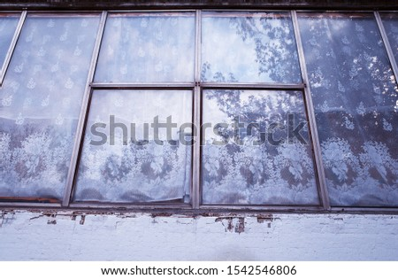 Vintage window of Russian secondhand realty architecture background #1542546806