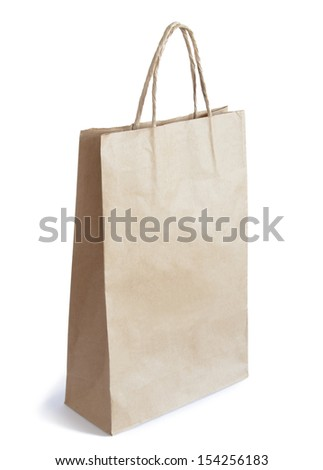Brown Paper Bag with Copy Space Isolated on White Background #154256183