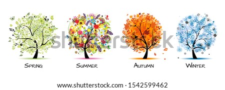 Four seasons - spring, summer, autumn, winter. Art tree beautiful for your design. Vector illustration Royalty-Free Stock Photo #1542599462