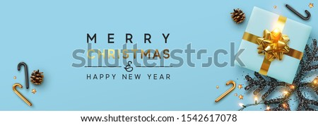 Christmas banner. Background Xmas design of sparkling lights garland, with realistic gifts box, black snowflake, brown pine cone. Horizontal christmas poster, greeting cards, headers, website #1542617078