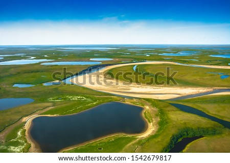 Landscape of the arctic tundra in summer. Rivers, lakes, northern vegetation. View from above. The concept of climate change, warming in the Arctic.