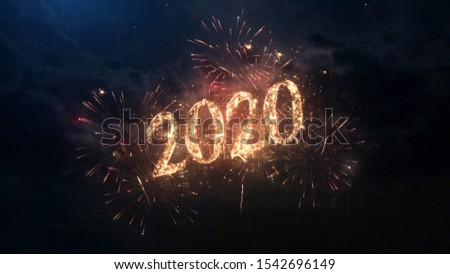 2020 Happy New Year greeting text with particles and sparks on black night sky with colored fireworks on background, beautiful typography magic design. #1542696149