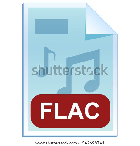File format or file extension of  audio - FLAC Free Lossless Audio Codec flat icon for user interface applications and websites isolated on white background. Vector illustration