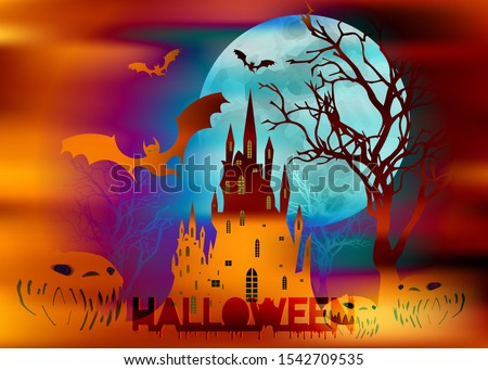 Mystic vector illustration, dark orange background on a spooky full moon background with silhouettes of characters and scary bats with gothic haunted castle. Graphic design for Halloween party #1542709535