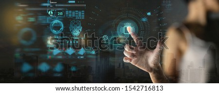 businesswoman hand  working with Digital transformation change management and internet of things (IoT) Ui. #1542716813