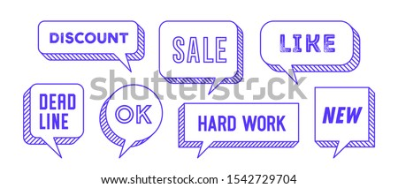 Speech Bubble. Set of 3d and 2d line speech bubble cloud talk with text Hallo, Goodbye, Ciao, Good Day. White speech bubble isolated cloud talk silhouette on yellow background. Vector Illustration #1542729704