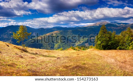 Colorful autumn landscape in the Carpathian mountains. Ukraine, Europe. #154273163