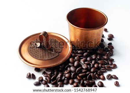 Vietname coffee, a device for making drift coffee with a strange shape Coffee bean that are grown in the country, especially the aroma, aroma, mellow taste. #1542768947