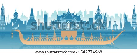 Thailand famous landmark in scenery design and royal Thai boat silhouette design in blue and orange yellow color,vector illustration #1542774968