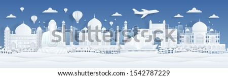 Paper cut India. Travel famous landmarks of India with clouds birds and plane in paper design. Vector banner with city panorama with art illustration landscape mumbai and flight in airplane #1542787229