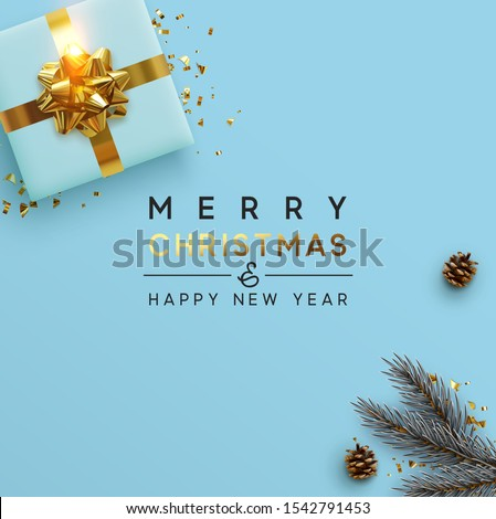 Merry Christmas and Happy New Year. Background Xmas design of brown pine cone, with realistic gifts box, pine branch and glitter gold confetti. Christmas poster, greeting cards, headers, website #1542791453