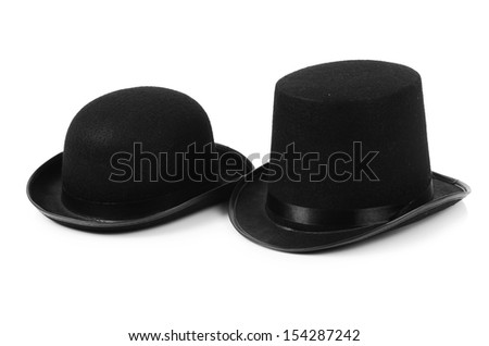 Black tophat top hat isolated on the white #154287242