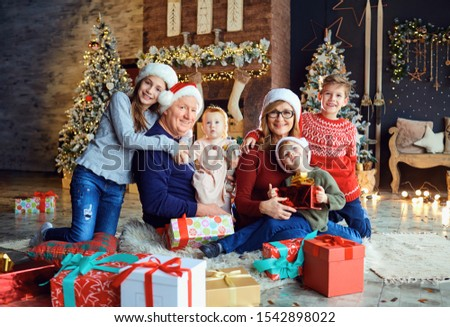 Grandmother and grandfather with children at home during Christmas. #1542898022