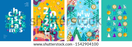 Merry Christmas and a happy new year 2020! Modern abstract geometrical illustration of a Christmas tree, snowflake and toys for the holiday poster, banner, card, background or pattern   #1542904100