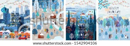 Winter nature, village, country, city landscapes. Vector illustration of natural, urban and rustic background for poster, banner, card, brochure or cover. #1542904106