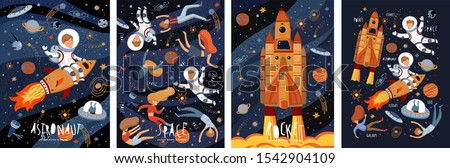 Space! Vector cute illustration of an astronaut, spaceship, rocket, alien, UFO, sky and people for background, card or poster. Children's drawings of the starry sky and galaxy. #1542904109