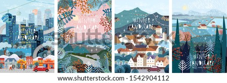 Winter nature, village, country, city landscapes. Vector illustration of natural, urban and rustic background for poster, banner, card, brochure or cover. #1542904112