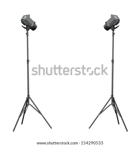 Twin up studio flash isolated on white background