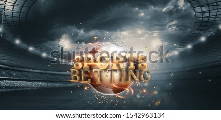 Gold Lettering Sports Betting Background with Soccer Ball and Stadium. Bets, sports betting, watch sports and bet Royalty-Free Stock Photo #1542963134