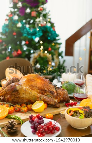 Holiday Turkey Dinner Above view of place setting on Thanksgiving day #1542970010