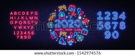 Happy New Year 2020 neon icons set vector. Merry Christmas collection neon signs. Bright sign boards, light banner. Modern trend design, night light signboard, emblems. Vector. Editing text neon sign. #1542974576