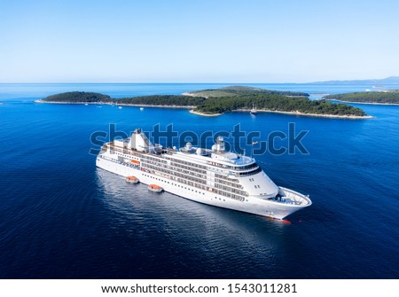 Croatia. Aerial view at the cruise ship at the day time. Adventure and travel.  Landscape with cruise liner on Adriatic sea. Luxury cruise. Travel - image #1543011281