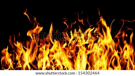 Flames on a black background.  #154302464