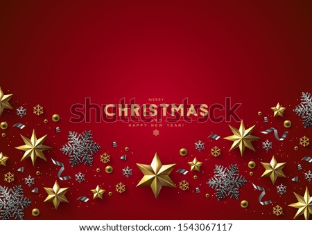 Red Christmas Background with Border made of Cutout Gold Foil Stars and Silver Snowflakes. Chic Christmas Greeting Card. #1543067117