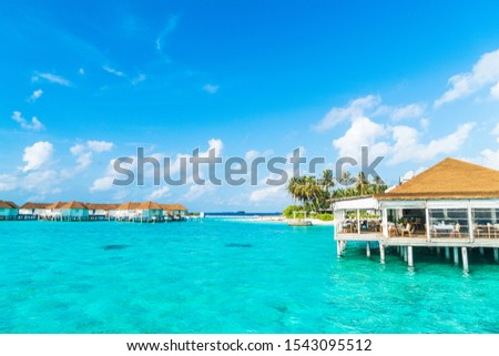 tropical Maldives resort hotel and island with beach and sea for holiday vacation concept - boost up color processing style #1543095512