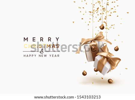 Merry Christmas and Happy New Year. Background with realistic festive gifts box. Xmas present. white boxes with beige ribbon gift surprise, Golden Christmas baubles, balls, glitter gold confetti. Royalty-Free Stock Photo #1543103213