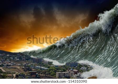 Apocalyptic dramatic background - giant tsunami waves crashing small coastal town