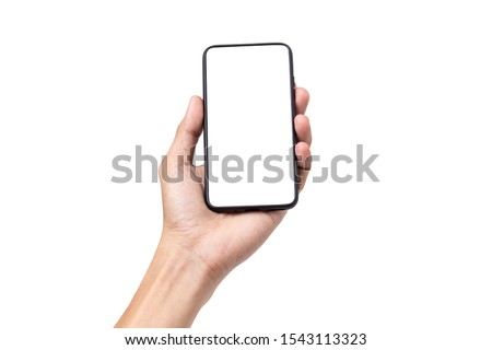 Hand man holding mobile smartphone with blank screen isolated on white background with clipping path #1543113323