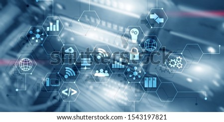 Digital concept internet of things information and telecommunication technology. Double exposure icons and server room background. #1543197821