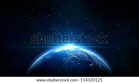 blue sunrise, view of earth from space