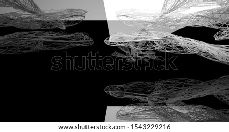 Abstract smooth architectural white and wire black gloss interior  with large windows. 3D illustration and rendering. #1543229216