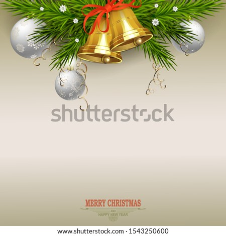 Christmas light beige composition with fir branches, golden bells and green Christmas tree branches. #1543250600