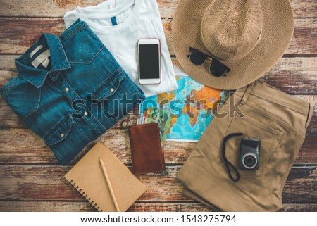 hipster travelling hiking day off long weekend relaxing stuff backpacker  style Overhead flat choice guiding backpacking idea planning travel  around the beautiful sky world forest jungle garden park  #1543275794