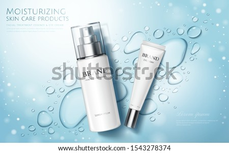 Moisture skincare product ads with watery water drops and glitter effects on blue background, flat lay #1543278374
