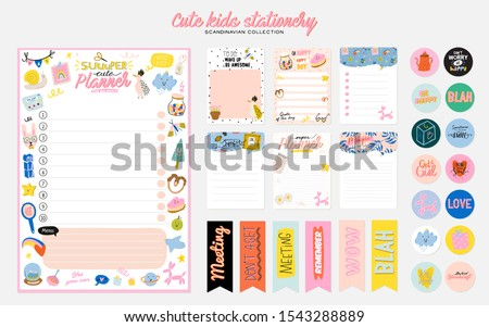 Collection of weekly or daily planner, note paper, to do list, stickers templates decorated by cute kids illustrations and inspirational quote. School scheduler and organizer. Flat vector #1543288889