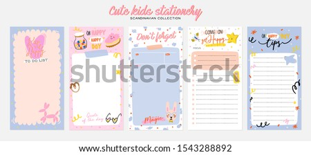 Collection of weekly or daily planner, note paper, to do list, stickers templates decorated by cute kids illustrations and inspirational quote. School scheduler and organizer. Flat vector #1543288892